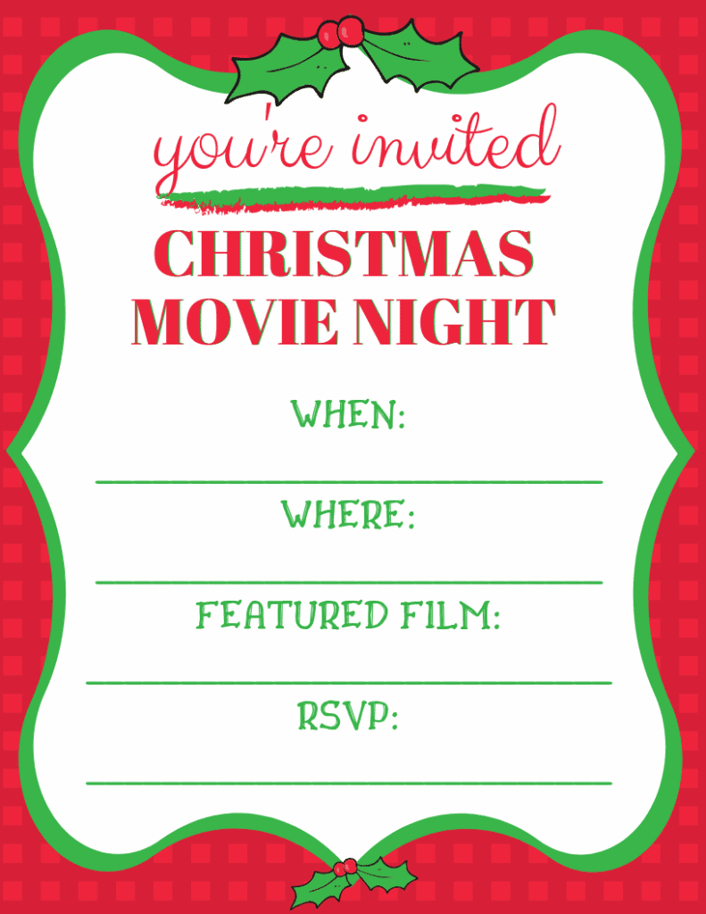 Make it a watch party. Here is a handy Christmas Movie Night Invitation you can download, print and send to all of your friends. #movienight #Christmas #ChristmasMovies #Printables #MovieNightInvitation