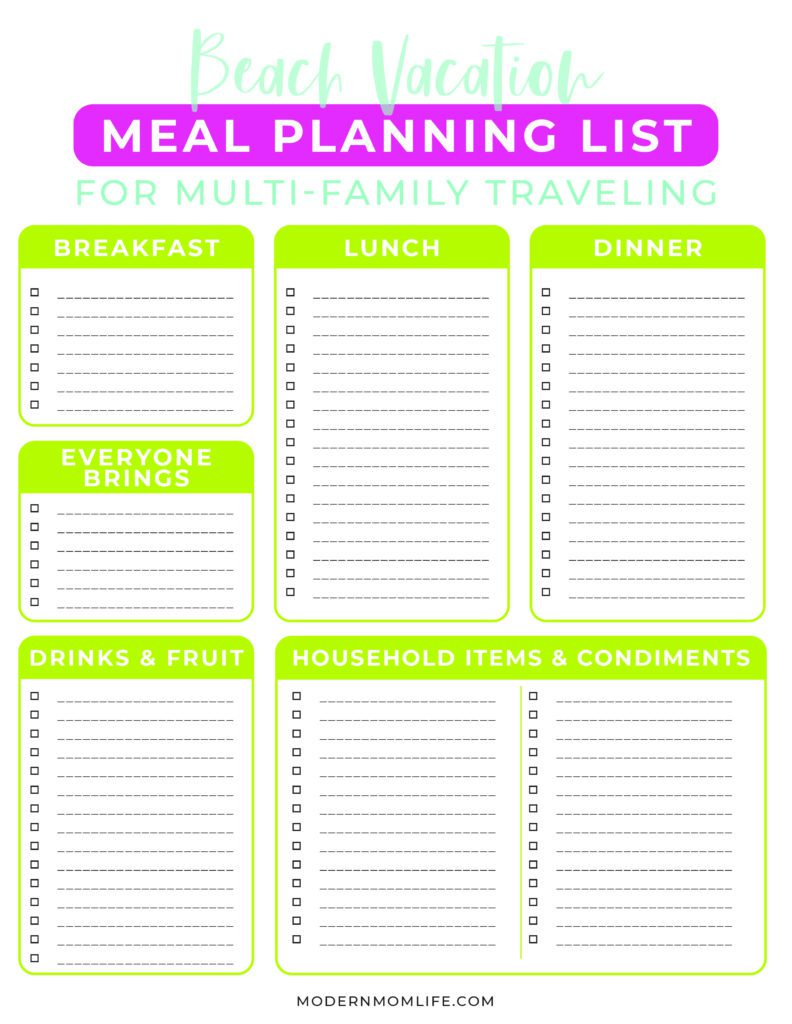 Blank Beach Vacation Meal Planning List