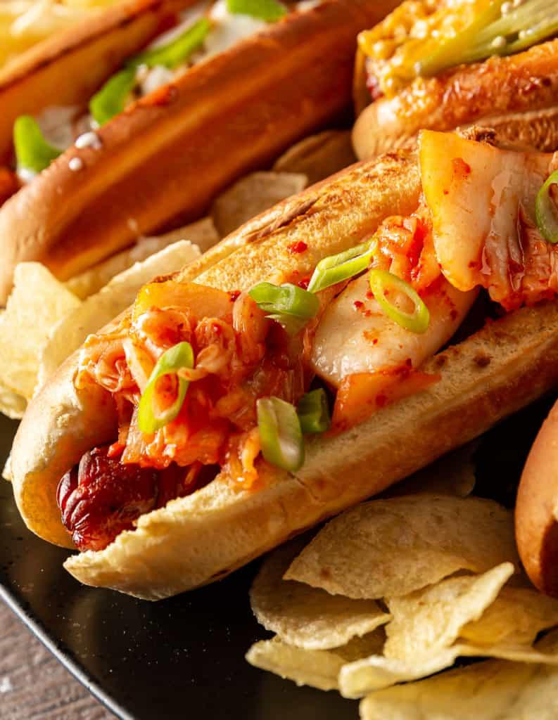 kimchi hot dog topping
