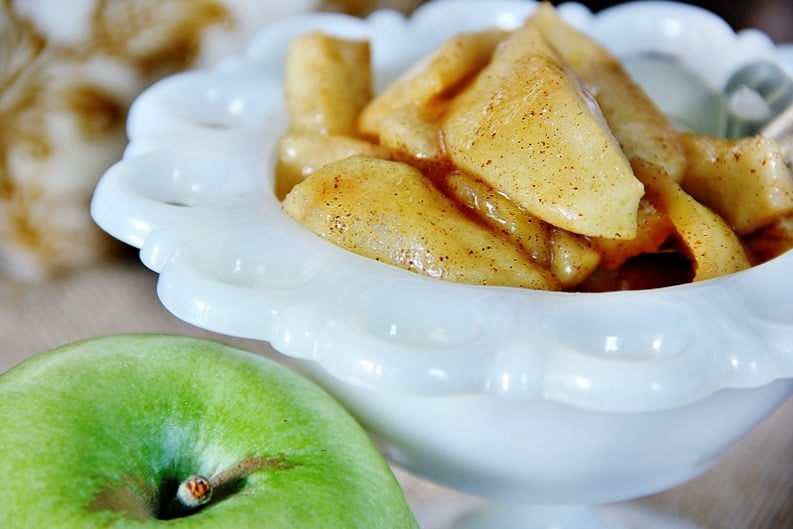 These cinnamon apples make the perfect topping for french toast.