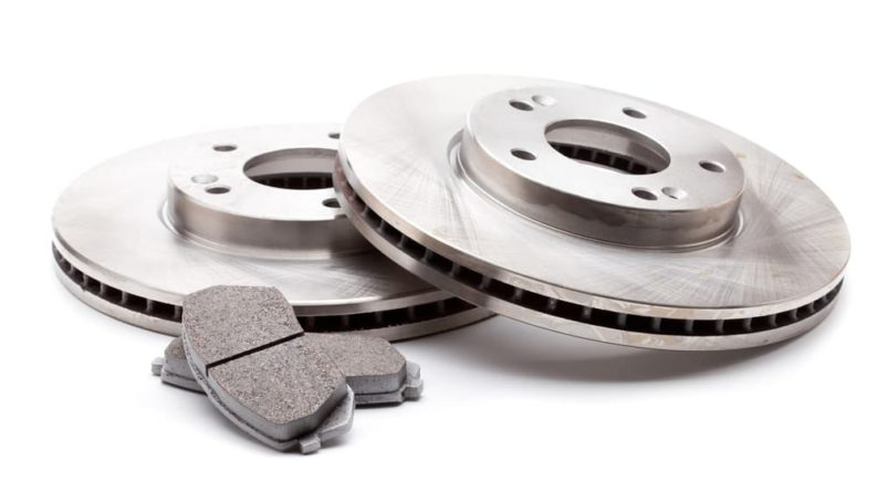 Pads and rotors needed for a brake service are shown on a white background.