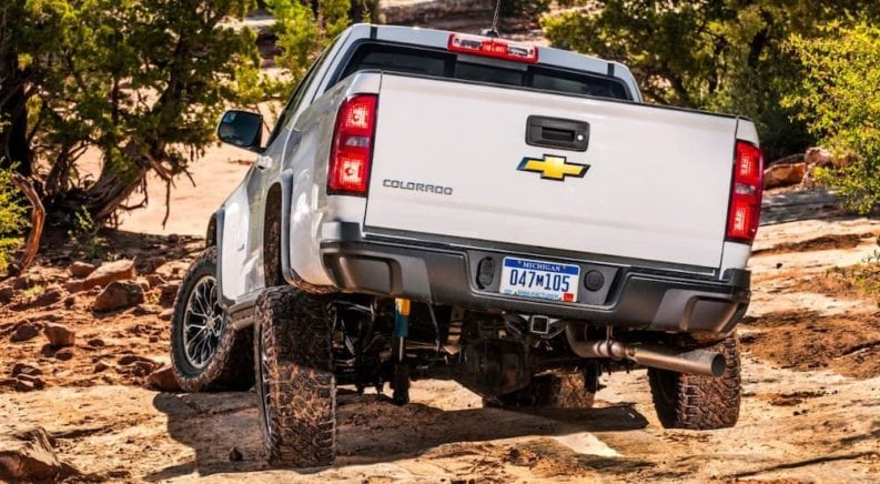 A 2017 Chevy Colorado ZR2 is off-roading with upgraded suspension.