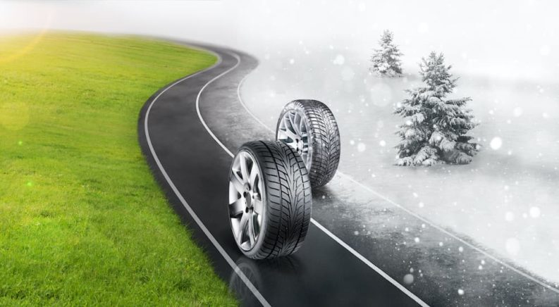 Two tires are on road, the left is a summer tire and right is a winter tire.