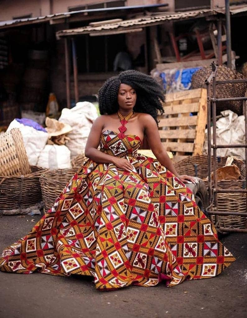 a beautifl ball dress made with chic African fabric