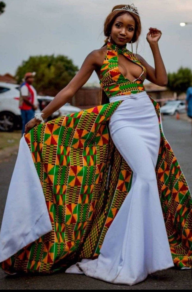 African Kente Maxi Dress for a night to remember