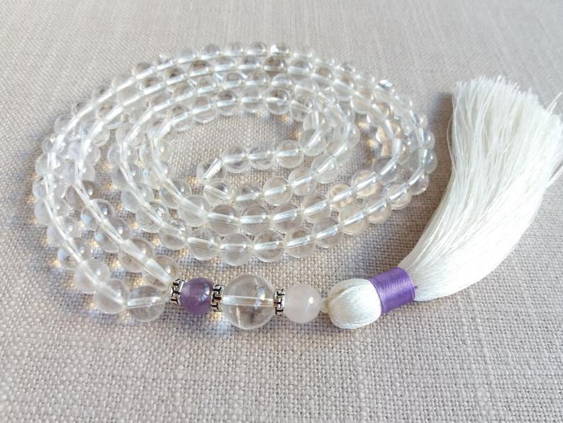 white mala beads