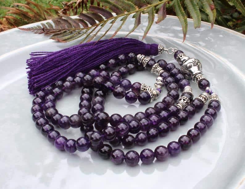 purple mala beads