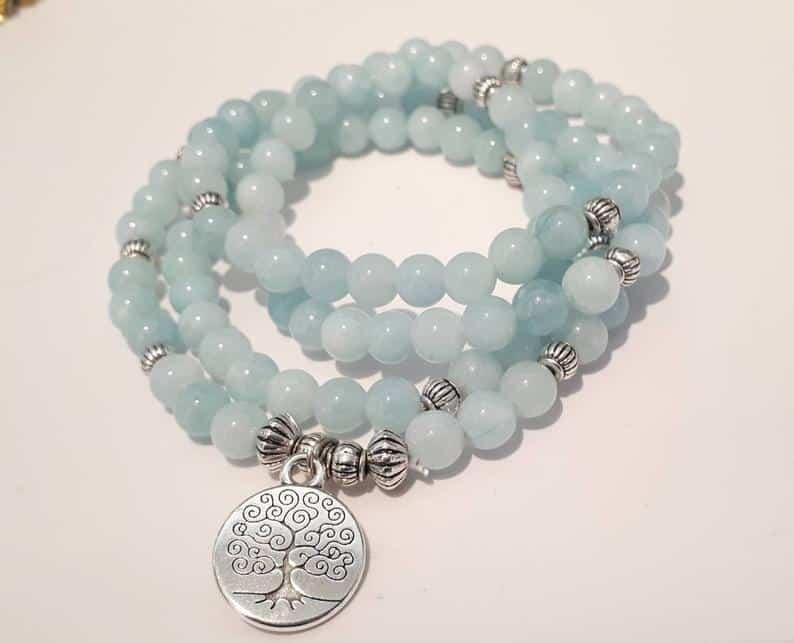 blue mala beads