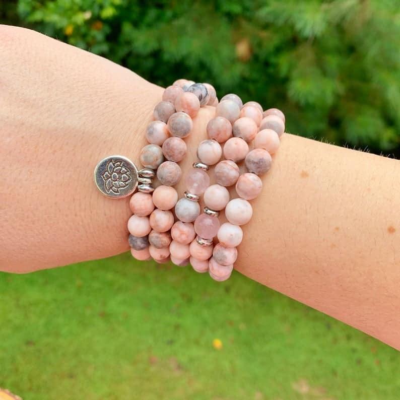 pink mala beads