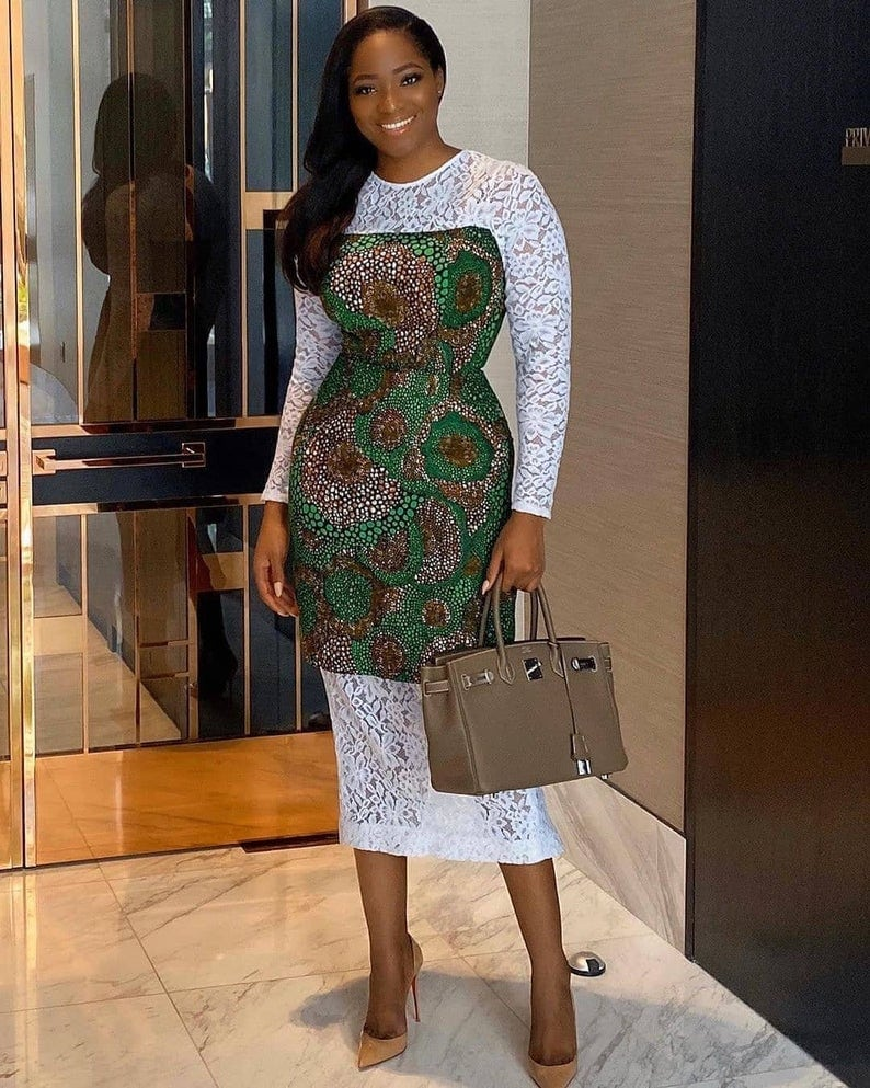 African ankara print with lace combo for the classy woman of style