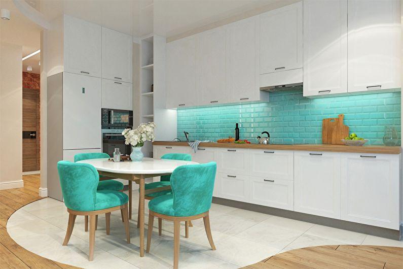 кухни бирюзового цвета с другими цветами