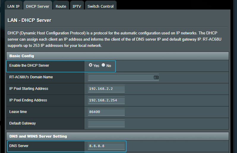 ASUSWRT DHCP Server and DNS Server