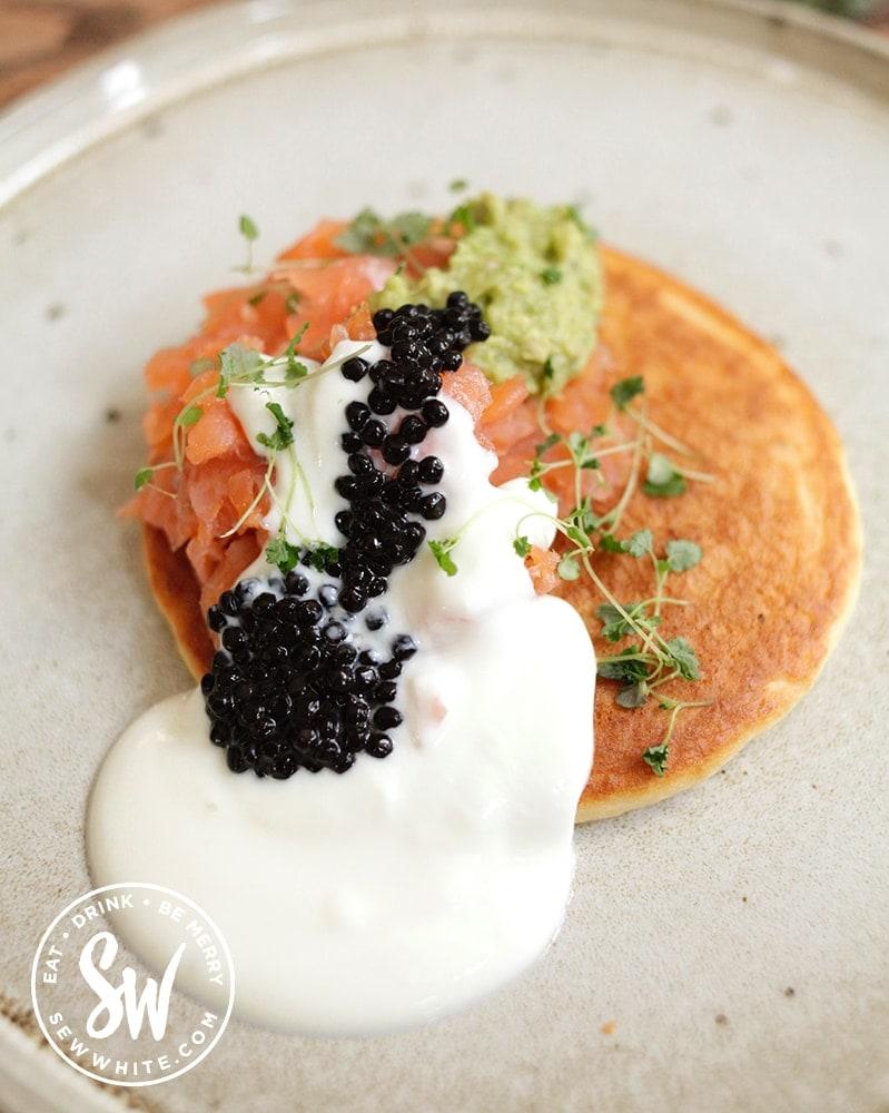 Caviar and smoked salmon pancake