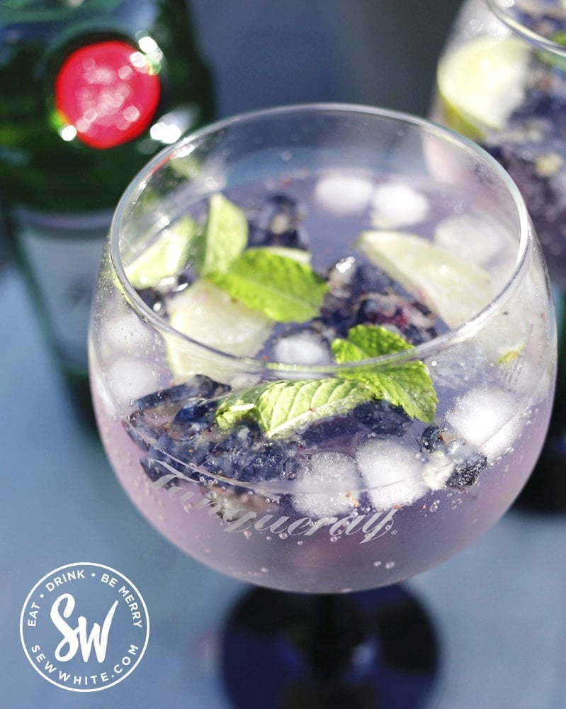 Tanqueray gin glasses and bottle of gin. Blueberry gin and tonic served on a glass table.