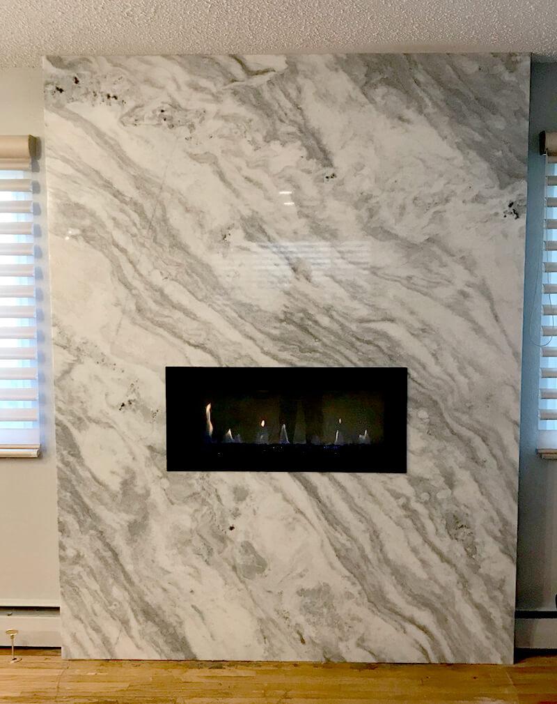 Golden Quartz Fireplace Remodel