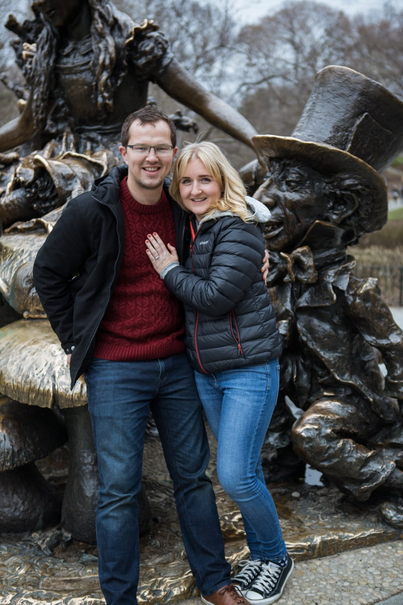 Photo 7 Surprise wedding proposal by Alice in Wonderland statue in Central Park. | VladLeto