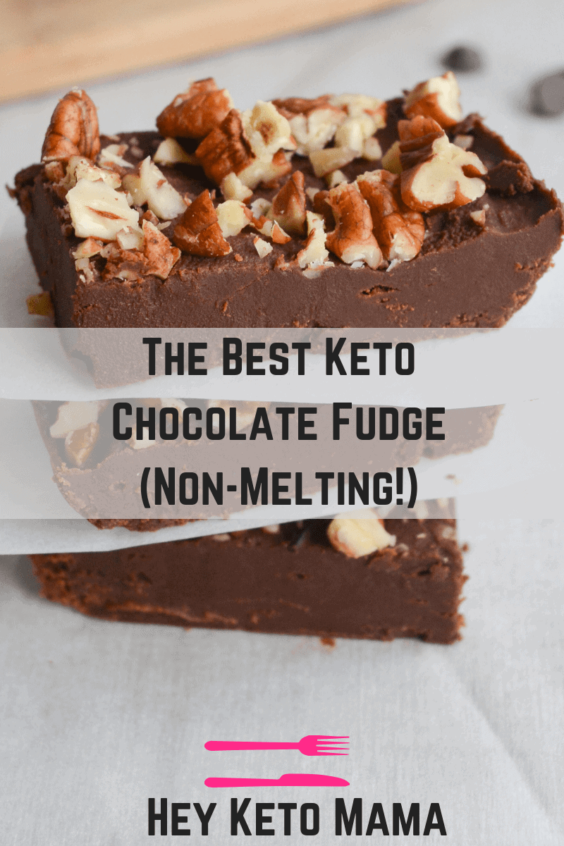 This is the BEST keto chocolate fudge. I say that because not only is it delicious and made of simple ingredients, it also doesn't melt in your hands! It's perfect for bringing to any Holiday Party. | heyketomama.com