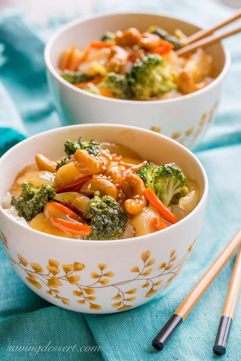 Bowls of stir fried vegetables with rice