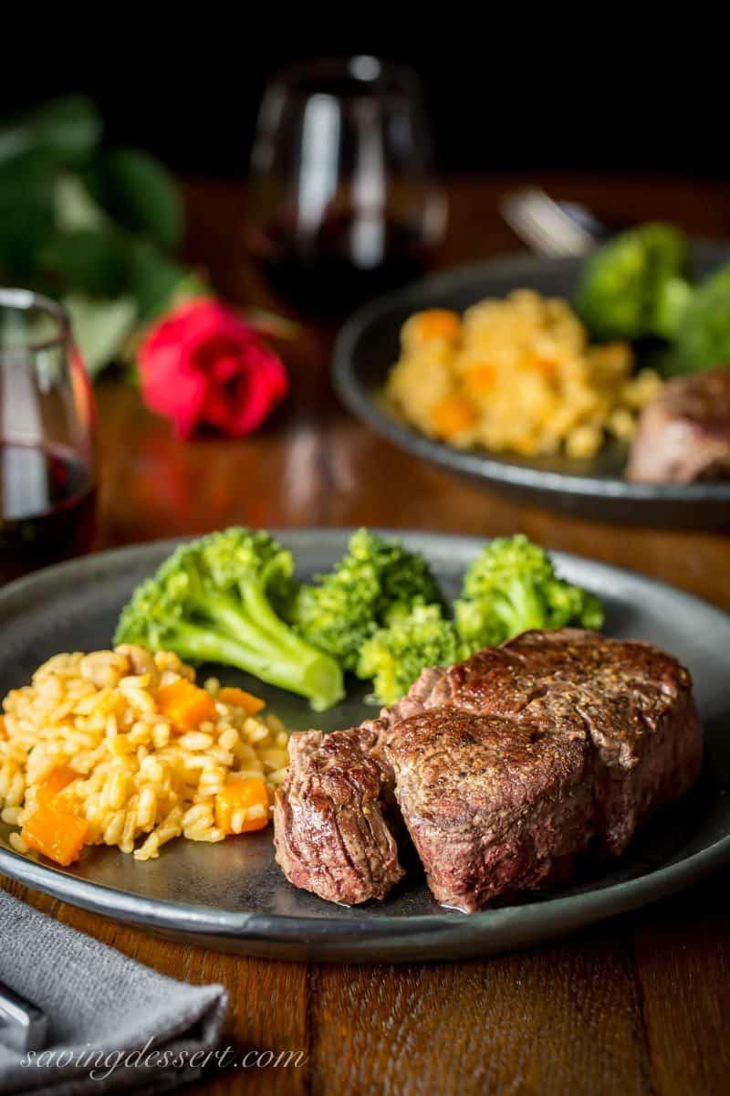 Beef Tenderloin Steaks with Herb Pan Sauce, broccoli and rice