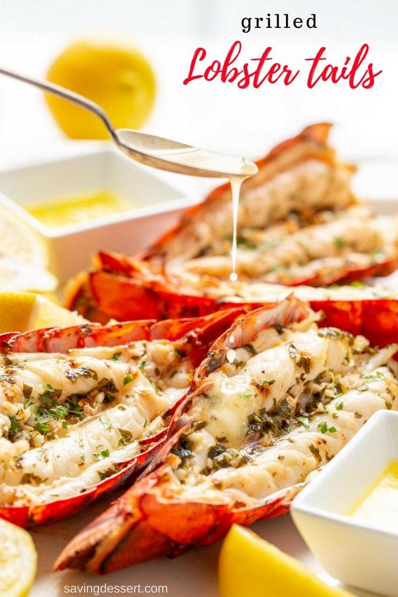 It's easy to make delicious Grilled Lobster Tail at home! Buttery, rich and succulent, lobster tail on the grill is a real treat at a fraction of the cost you would pay when dining out. #savingroomfordessert #lobster #grilledlobstertail #lobstertail #grilledlobster #grilledseafood #specialdinner #grilling #grilled