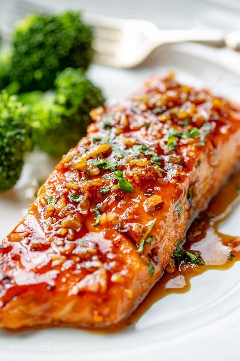 Spicy Salmon in a honey-lime garlic sauce served with broccoli on a plate