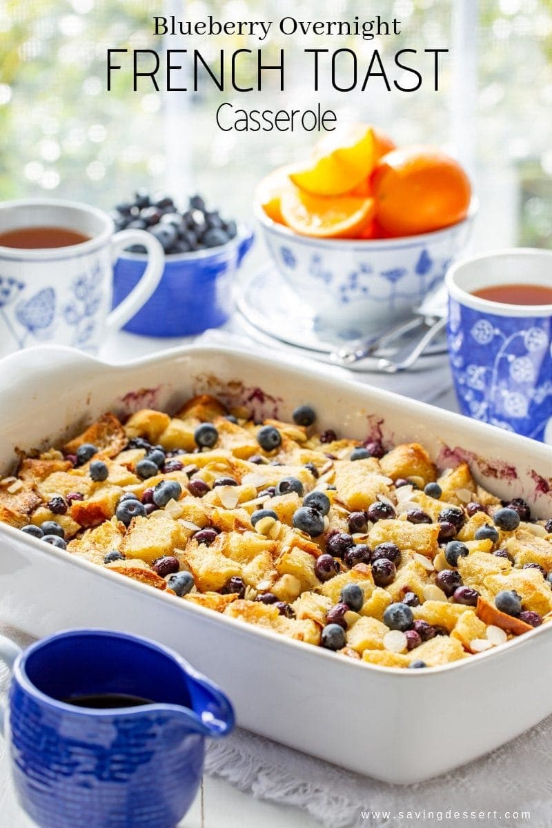 A Blueberry Overnight French Toast Casserole served with oranges