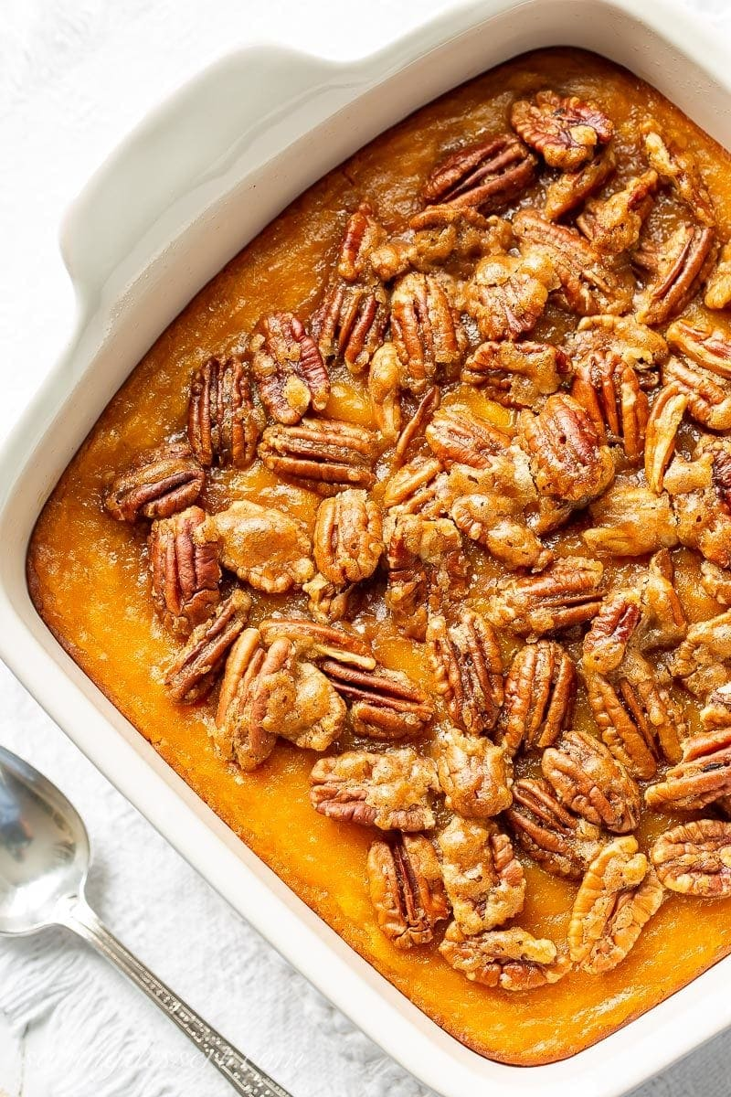 Butternut squash casserole topped with brown sugar pecans
