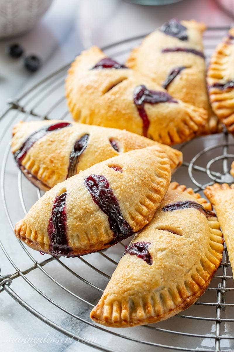 Close up of blueberry hand pies