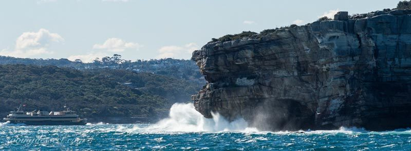 Cliffs near the gap leaving Watsons Bay heading out into the Pacific Ocean.