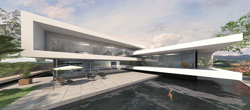 Split-Level Haus mit Flachdach
