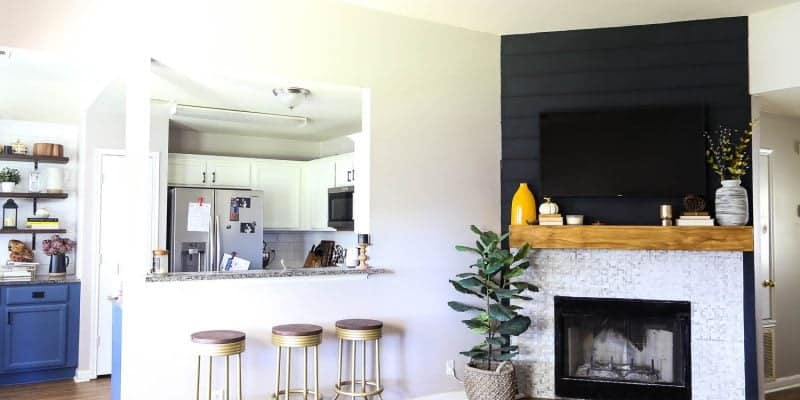 simple shiplap fireplace makeover