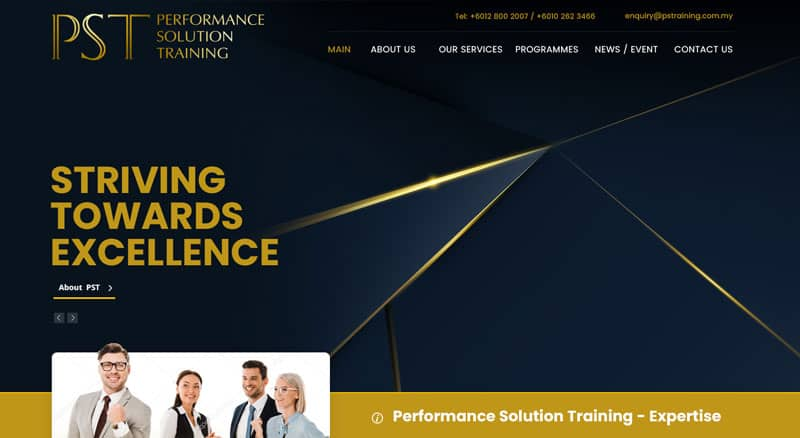 Performance Solutions Training - Leadership Training Company Website Design