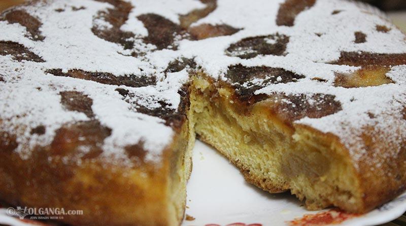 Delicious apple pie Sharlotka on pan
