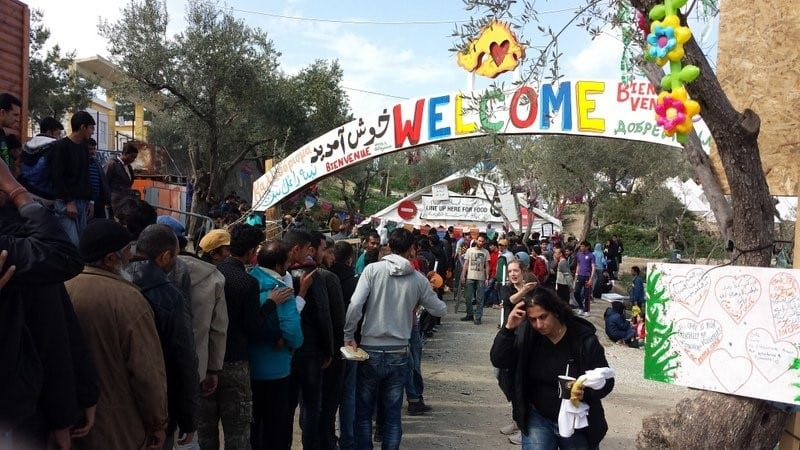 Photo of welcome banner at Moria Camp in Lesvos, Greece