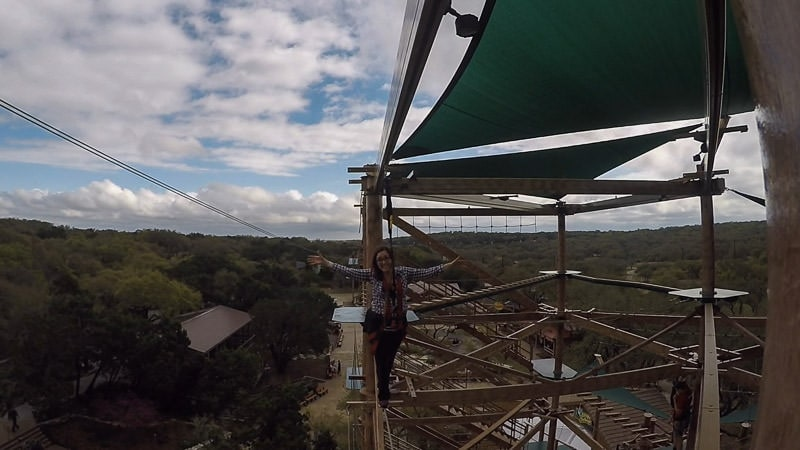 Brooke on the Canopy Challenge Ropes Course