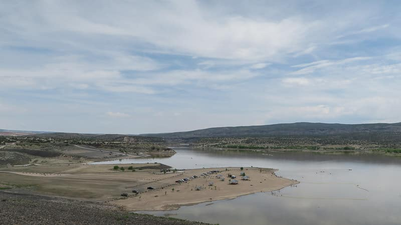 view of cochiti lake from the campground