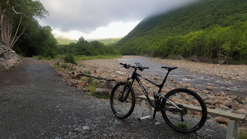 Trek Mountain Bike next to salmon ponds