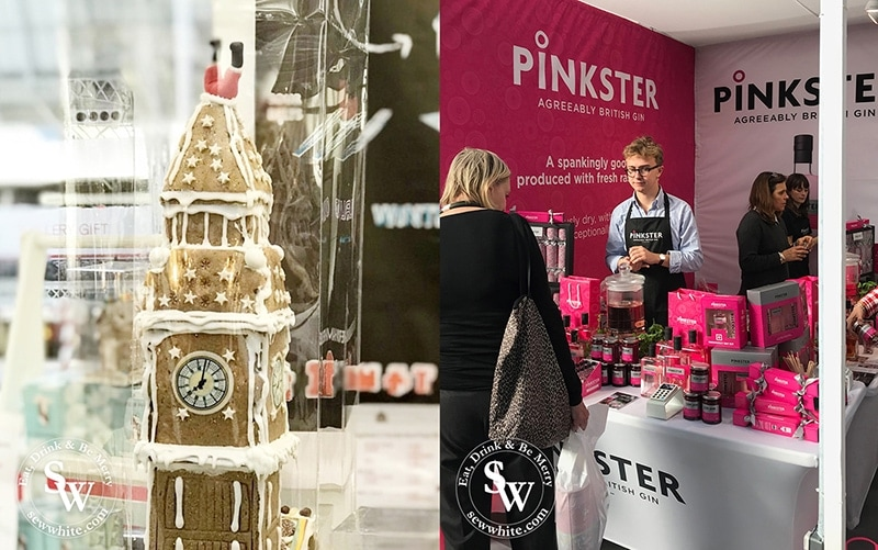 Gingerbread sculpture of Big Ben at the Spirit of Christmas Fair Olympia along with Pinkster gin.