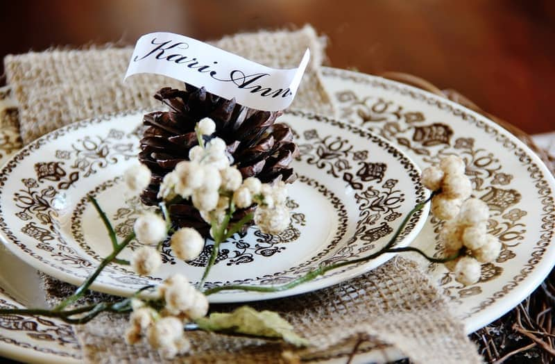 Thanksgiving Table Setting Ideas Pinecone Place Holder