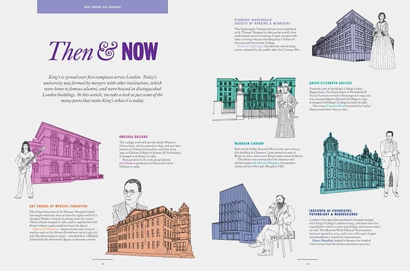 InTouch magazine Kings College London Hodgkin Building illustration Jitesh Patel