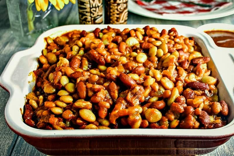 Mixed Baked Beans in casserole dish