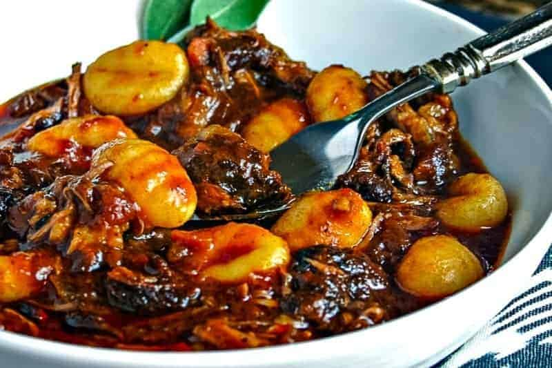 Braised Short Ribs with Gnocchi with fork