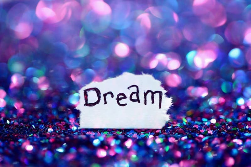 """the word """"dream"""" on sequins"""