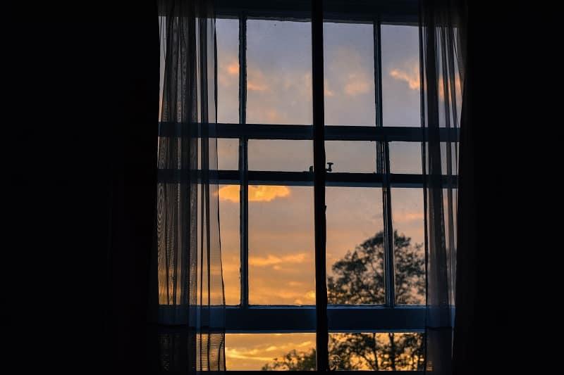 sunrise through window