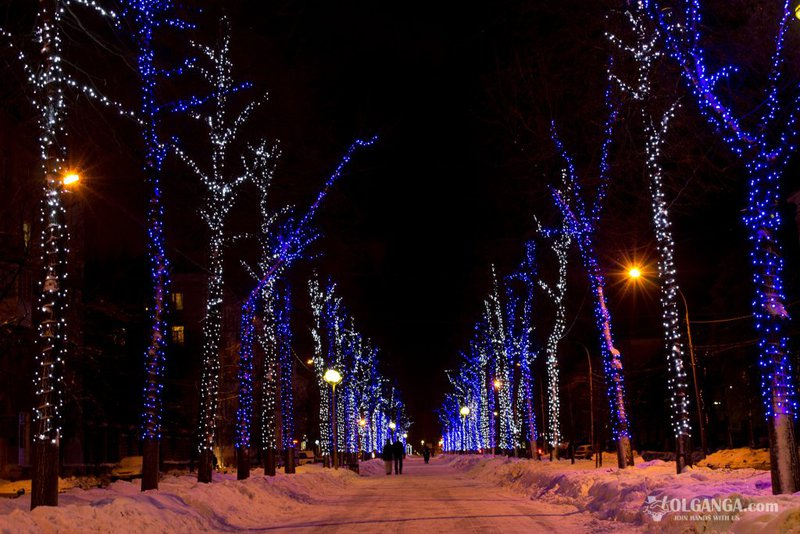 Lenina avenue on New Year night 2017, Yaroslavl