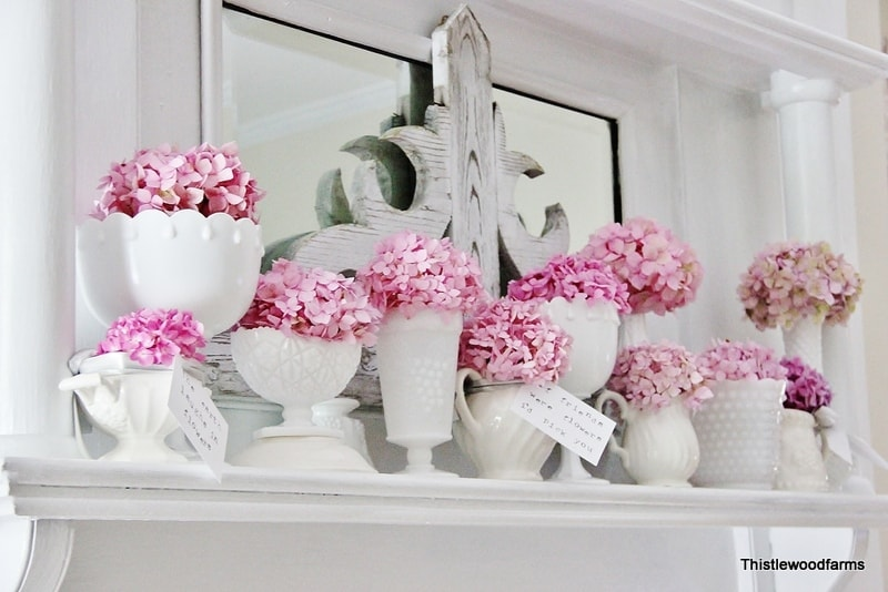 This springtime Hydrangea mantel is fun and pretty