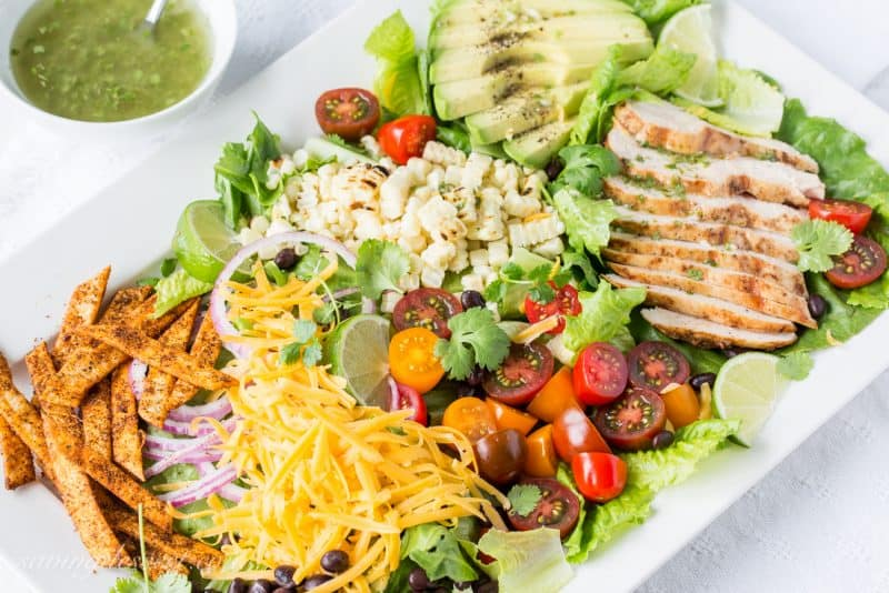 Grilled Chicken Taco Salad with Spicy Taco Strips and Cilantro-Lime Vinaigrette