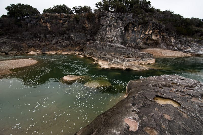 Bright green pools of water at Pedernales Falls State Park