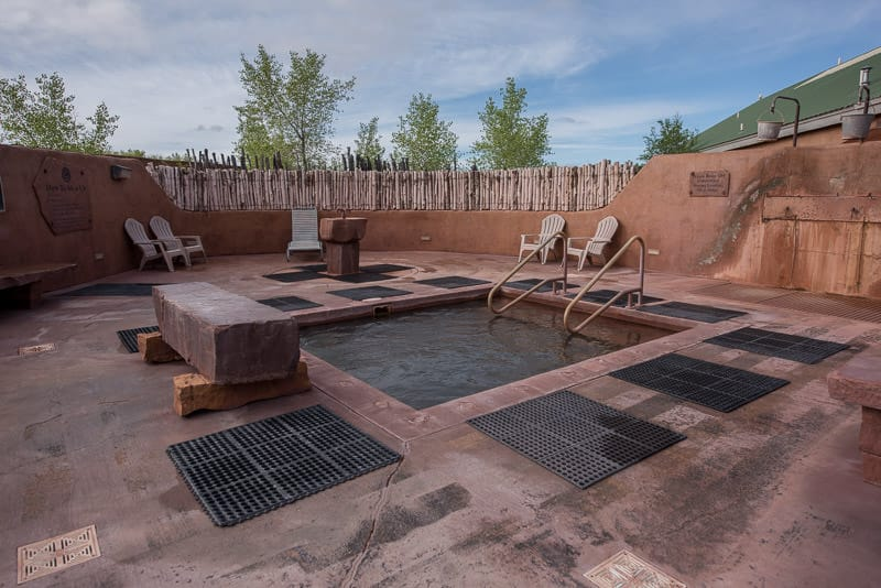 The Mud Bath pool, fountain and lounging area