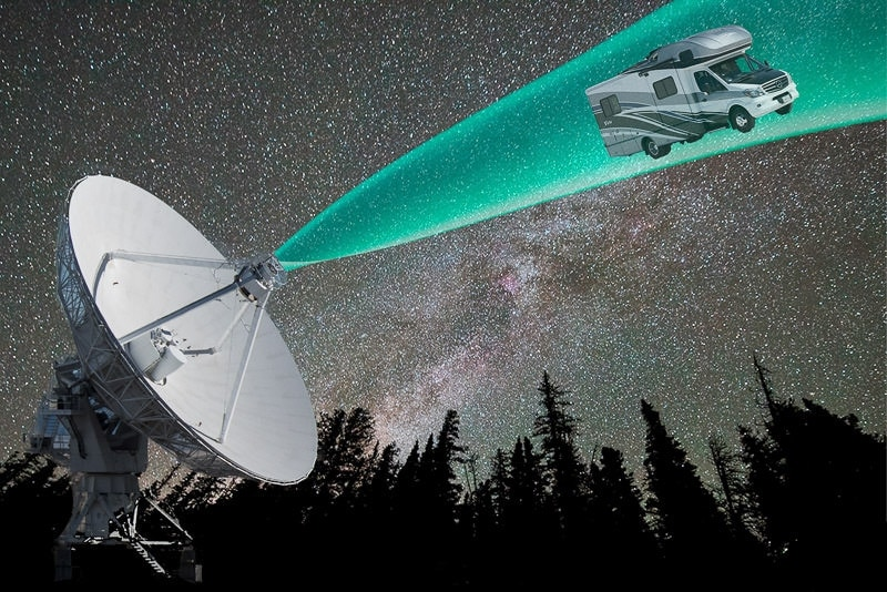 Photoshopped image of a satellite from the VLA, with the milkway behind it (shot in Rocky Mountain National Park) and our RV